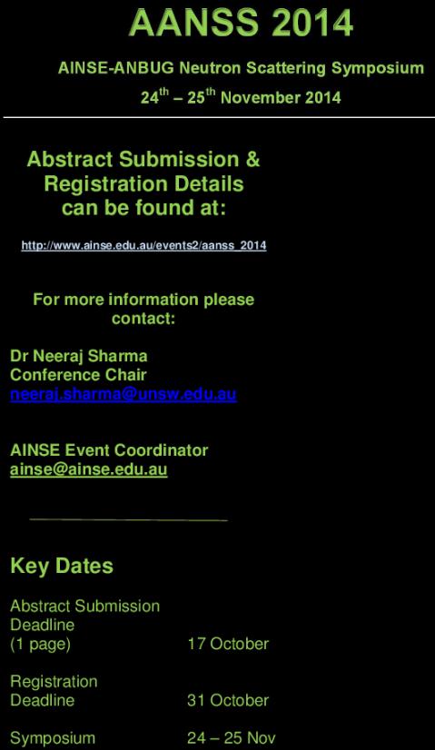 http://www.ainse.edu.au/events2/aanss_2014