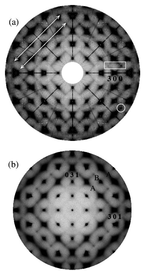 Diffuse scattering from PZN, (a) in the hk0 layer and (b) in the hk1.  Streaks, diamonds and other shapes are all clearly visible, all containing information about the SRO in PZN.