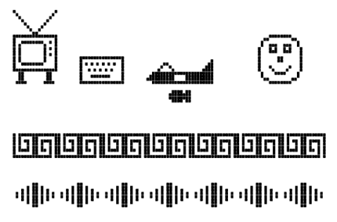 Clunky images using the Sharp MZ-721 graphics sprites.