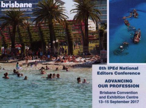 Postcard advertising the next IPEd National Editors Conference, the successor to write edit index 2015.