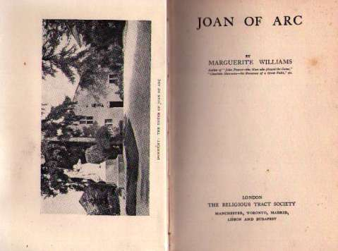 Title page and frontispiece of Joan of Arc by Marguerite Williams.
