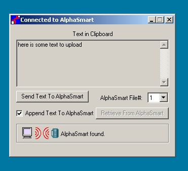 Alphasmart 2000 connected to the infrared do-hikky and talking to Windows 7 inside VirtualBox.
