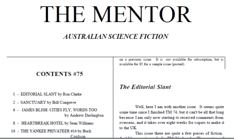 Masthead and some contents for <em>The Mentor</em> number 75.