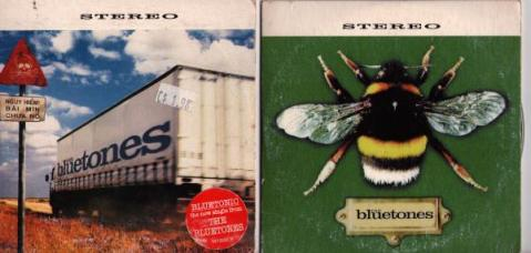 Single sleeves -- 'Bluetonic' (left) and 'Slight Return'.