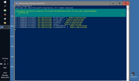 Using Windows PowerShell to strip out cruft from Windows 10.