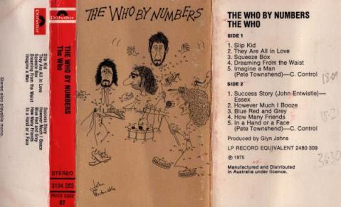 <i>The Who By Numbers</i> cassette inlay card.