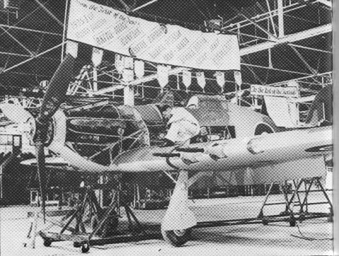 The last Hawker-built Hurricane during assembly.