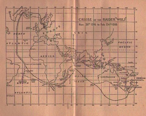 The map of the <i>Wolf</i>'s voyage. The only German ship to sail into Australian waters in World War I.