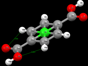 Terephthalic acid molecule, drawn in Mercury.