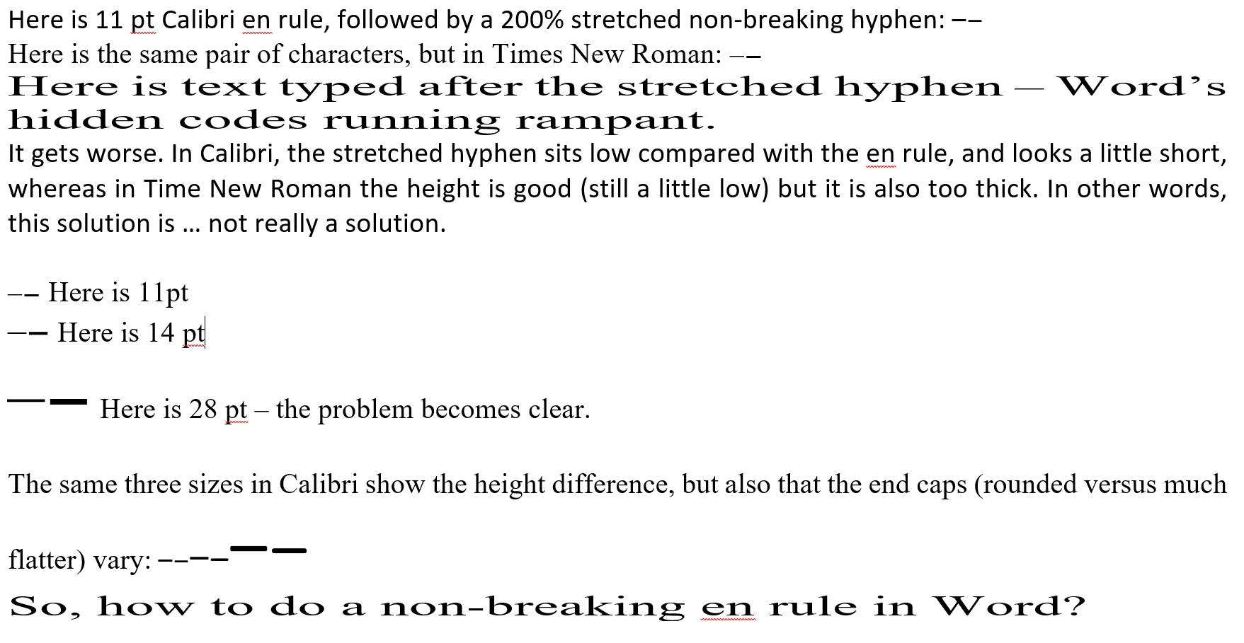 Non Breaking En Rule En Dash In Microsoft Word Not Really Or So