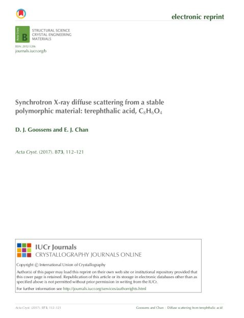 Front page of IUCr reprint, showing it is dfferent from download from journal.