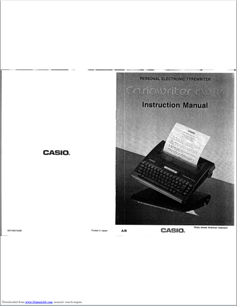 Image of front page of manual, showing large white space bands at top and bottom.