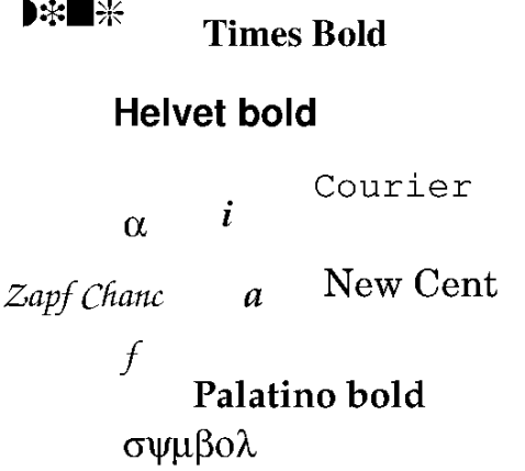 Screen grab from xFig showing font's on screen as well as in exprted version.
