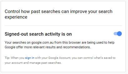 Screenshot showing the Search history slider -- Google is collecting search history though you are logged out.