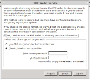 Screenshot of the dialogue, showing where to choose the security options and then enter the password