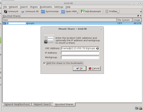 Screenshot of the Mount Share dialog in smb4k, showing the server and service and user information.
