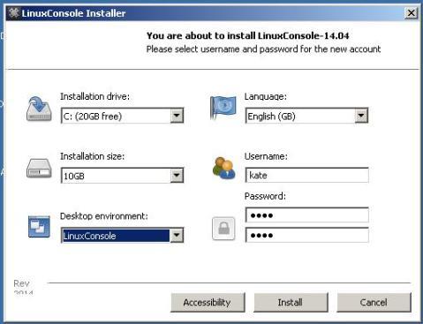 Screen shot of the installer running.