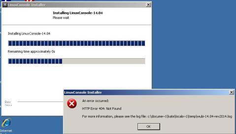 Screen shot of error