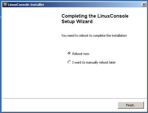 Screen shot showing installer finished.