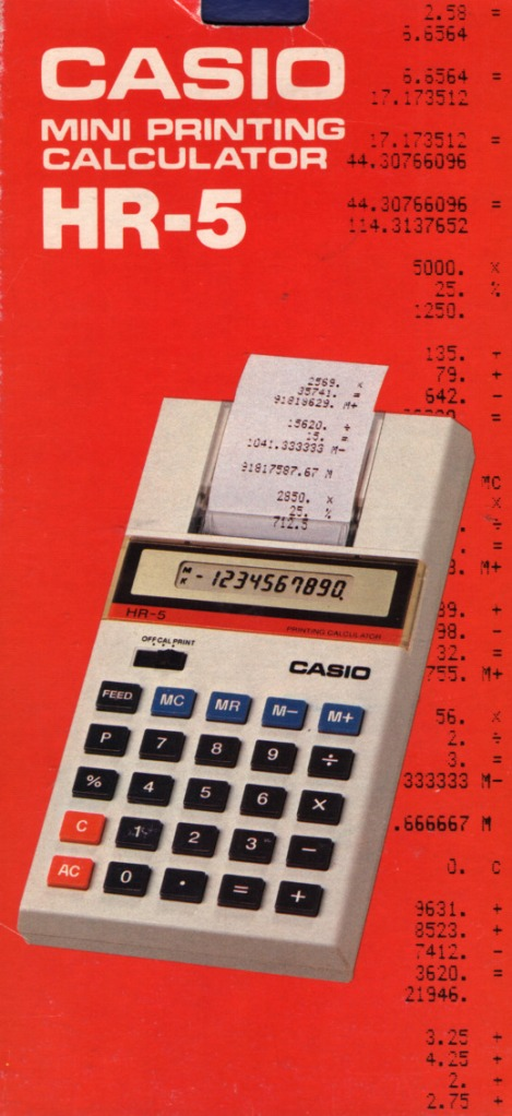 red with a picture of the machine and some examples of output