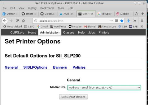 Screen shot of menu