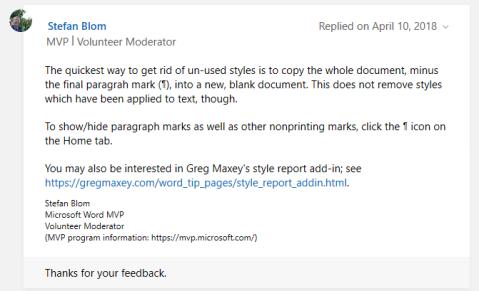 screenshot of the advice