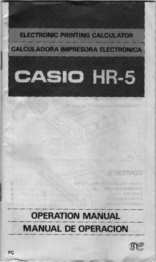 Cover says electronic printing calculator calculadora impressora electronica Casio H R 5 operation manual manual de operacion