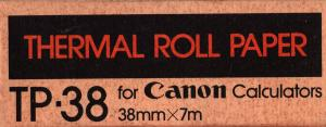 scan of the box front -- says Thermal roll paper TP-38 for Canon calculators 38 mm by 7 m