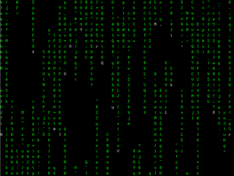cmatrix -- green letters cascading down the screen