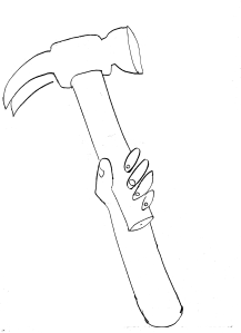 line drawing of a hand swinging a hammer