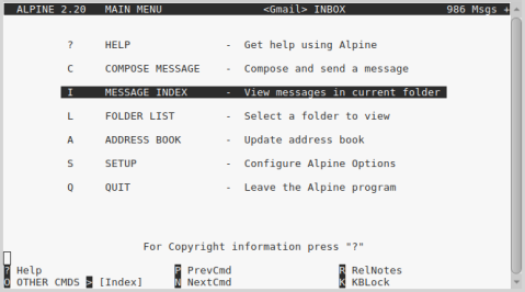 screen shot showing the main menu -- Help, Compose, Message Index, Folder List, Address book, Set up and Quit