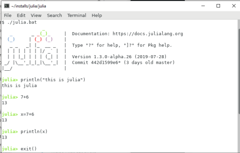 screenshot showing a simple interactive julia session