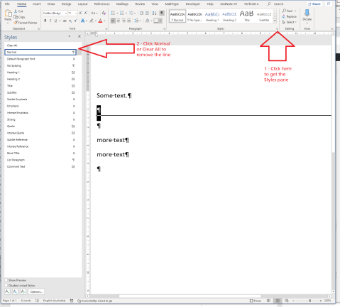Screen shows the same document with the Styles pane opened