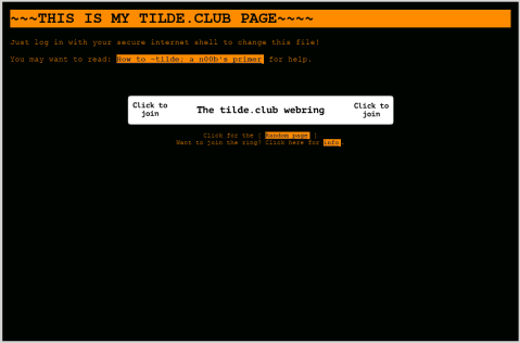 A brand new tilde club page