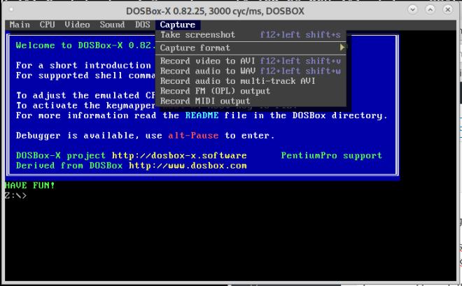 First run of dosbox-x