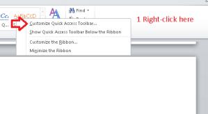 Clicking on empty bit of ribbon